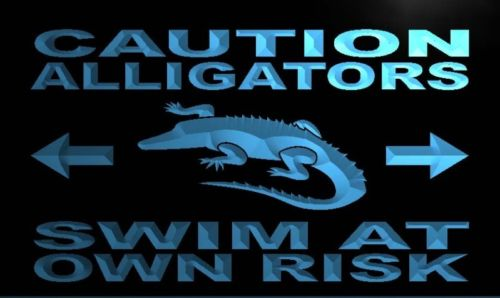 Caution Alligators Swim at Own Risk Neon Sign